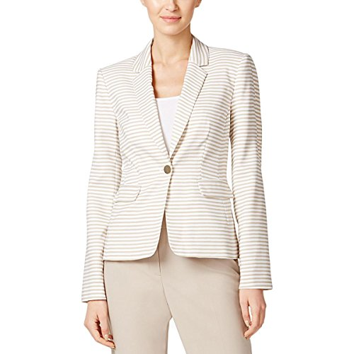 Calvin Klein Womens Petites Striped Notch Collar One-Button Blazer Tan 4P (Calvin Klein Cotton Blazer)