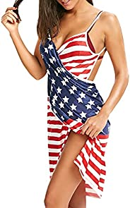 Sexyshine Women's Plus Size Sexy Spaghetti Strap Backless Solid Color Striped Beach Dress Bikini Cover Up