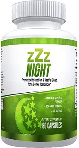 zZz Night Natural Sleep Aid - Non-Habit Sleeping Pills with Melatonin, Valerian, Chamomile & More - Promotes Relaxation & Restful Sleep for a Better Tomorrow - 60 Capsules - Money Back Guarantee