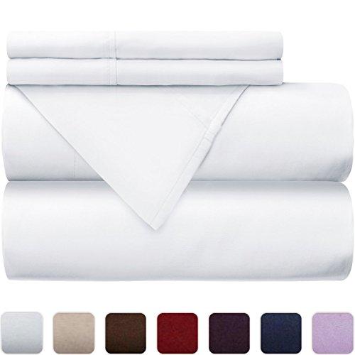 Dorm Room 300 Thread Count 100% Cotton Percale 3 Piece Twin Extra Long XL Sheet Sets - Crisp Cool Dorm Bedroom Teen Room Decor (White)
