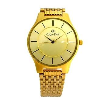 OSKAR EMIL Ascot Gold.Flache Elegante Herren Uhr mit Diamant