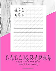 Calligraphy Paper for Mindful Hand Lettering: 160 Sheets - Work Book Lined Handwriting for Adults Kids Teens Beginner's Pink White Marble