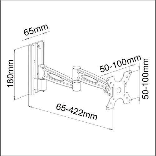 TradeMount Supporto da Parete in Alluminio per Display Estraibile da 6,5cm a 42,2cm orientabile di 2 x 180° per iiyama 32 Prolite XB3270QS-B1 inclinabile di 12°