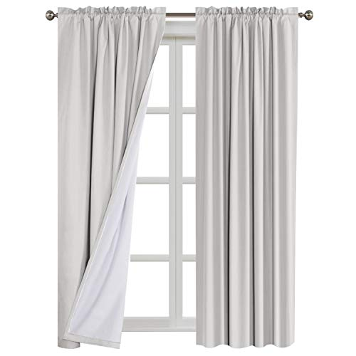 100% Blackout Window Treatment Rod Pocket Curtains Waterproof Thermal Insulated Window Drapes with White Backing (2 Panels Set), 52 by 96 Inch, 2 Bonus Tie-Backs ()