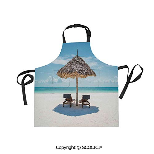 SCOCICI Fabric Durable Unisex Apron with 2 Pockets-Extra Long Ties, Wooden Sun Loungers Facing Eastern Ocean Under a Thatched Umbrella in Zanzibar,Home Baking or Kitchen Cooking (Thatched Umbrellas Sale)