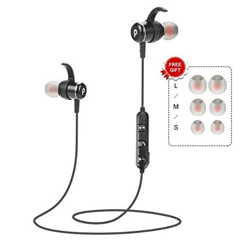 Wireless Bluetooth Headphones Magnetic Earbuds Sweatproof Headphones Noise Cancelling HiFi Stereo in-Ear Earphones w/Mic Headsets for Running Workout Gym Sports Secure Fit- 2019 Upgraded