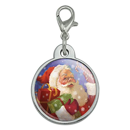 GRAPHICS & MORE Christmas Holiday Santa Presents Candy Canes Chrome Plated Metal Pet Dog Cat ID Tag - Small