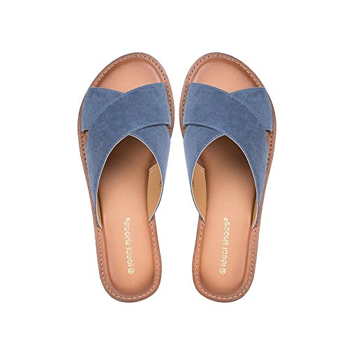 Ideal Shoes, Damen Zehentrenner Blau