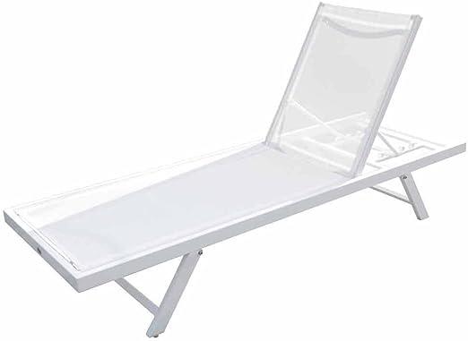 PAPILLON 8091363 Tumbona Jardin Aluminio Textil Sunset Plegable Blanca: Amazon.es: Jardín