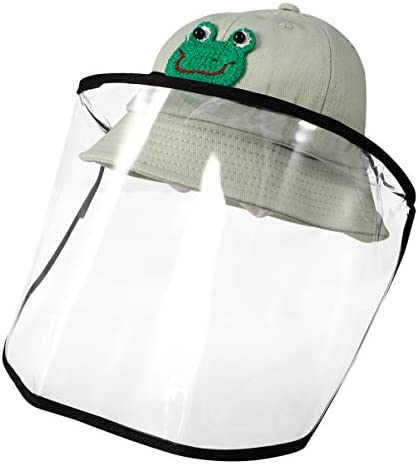 NUOLUX 子供 帽子 漁師帽 かわいい 刺繍漫画 保護カバー付き 取り外し可能 防風キャップ 日除け帽子 女の子 男の子 通学 通園(グリーン、M)