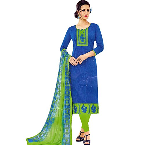 Ladyline Ready To Wear Rich Cotton Embroidered Salwar Kameez Indian Pakistani (Blue Cotton Salwar Kameez)