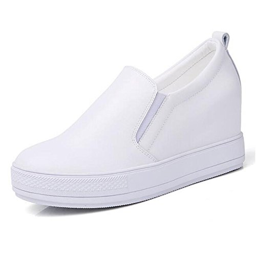 Women's Slip On Loafers Platform Shoes PU Leather Hidden Heel Wedge Sneakers Fashion Sneaker Walking Shoes (6-6.5 B(M) US, White)