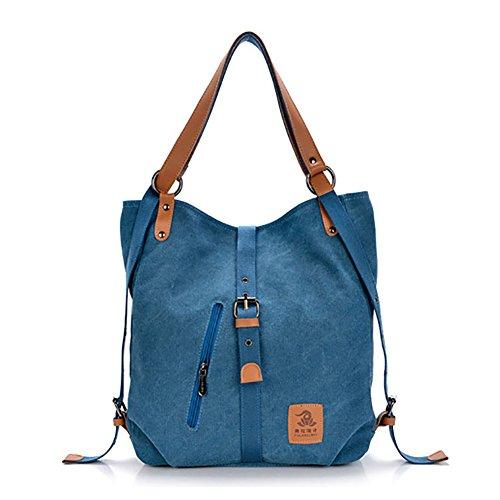 mochila informal de gran multifuncional mochila Blue mujeres Mochila viaje niñas para lona de de capacidad viaje wqxOE8X