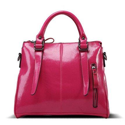 Mefly La moda europea y americana Fashionista Youpi Dama Bolsa Bolso negro de cera de aceite Rose red
