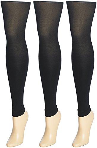 Trimfit 3 PacK Girls Black Footless Tights 10-14 -