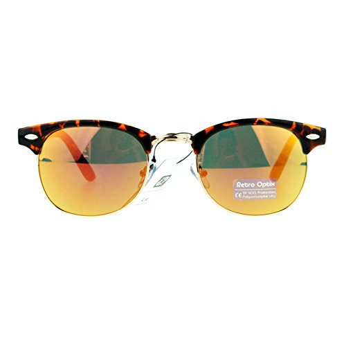 SA106 mirrored Color Mirror Lens Tortoise Frame Half Rim Clubmaster Sunglasses - Shell Sunglasses Turtle