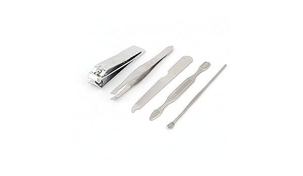 Amazon.com: eDealMax de belleza Cuidado de las uñas de las podadoras del archivo Pinzas de cutículas limpiador del oído de manicura Set 5 en 1 tono de ...