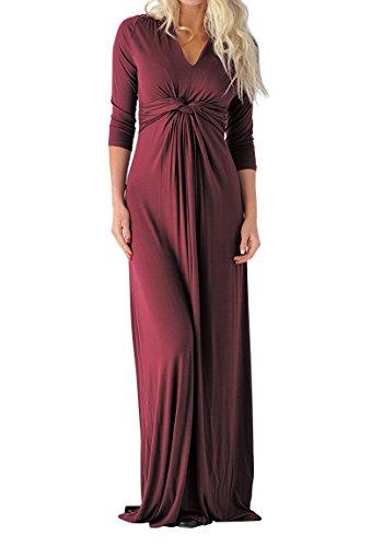 3/4 Sleeve Twist - Hestenve Women 3/4 Sleeve V Neck Twist Knot Empire Waist Swing Maxi Dress