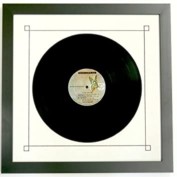 picture disc12lp record frame with white mat design black trim