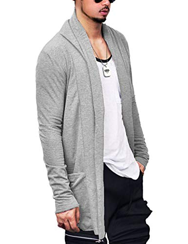 FISOUL Men's Cardigan Ruffle Shawl Collar Cardigan Open
