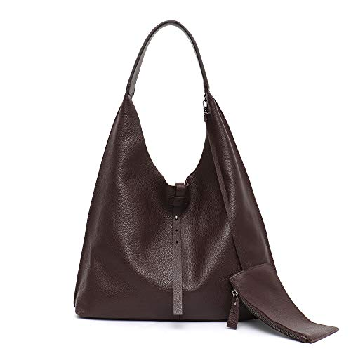 STEPHIECATH Women Genuine Cow Leather Shoulder Bag Slouchy Stirng Hobo Casual Soft Tote Ladies Vintage Leather Bag (COFFEE) Cow Leather Women Zipper