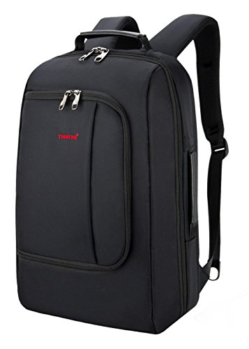 TIGERNU Slim Business Backpack with USB Charging Port Convertible Water Resistence Carry on Travel Bag with Luggage Strap Fits 15 15.6 Inch Laptops for Men Women Black -