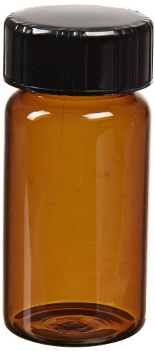 - Kimble 60911D-12 Borosilicate Glass Amber Screw Thread Sample Vial with White Rubber Lined Closures, 0.375 Drams Capacity, 8-425 GPI Thread Finish (Case of 288)