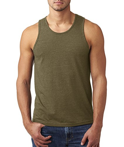 Knit Tank Rib Cotton (Next Level Men's Rib-Knit Sublimated Muscle Tank Top, Medium, Military Green)