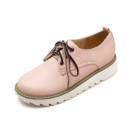 AllhqFashion Mujeres PU Mini Tacón Puntera Redonda Sólido Cordones Zapatos de Tacón, Rosa, 34