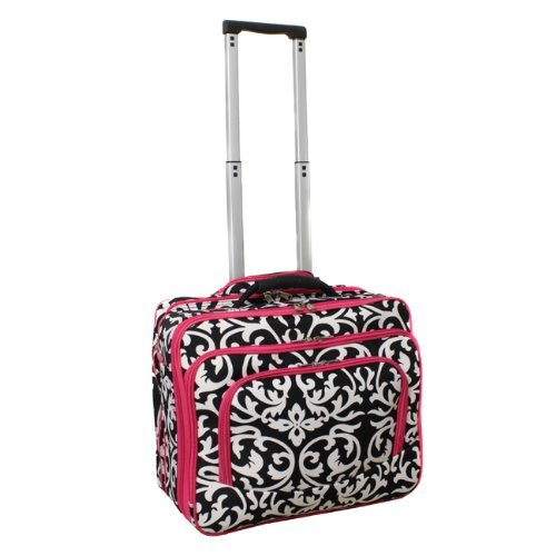 All-Seasons Fashion Print Women's Rolling 17-inch Laptop Case - Pink Damask