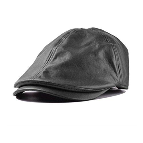 Letdown Men Women Vintage Leather Beret Cap Peaked Hat