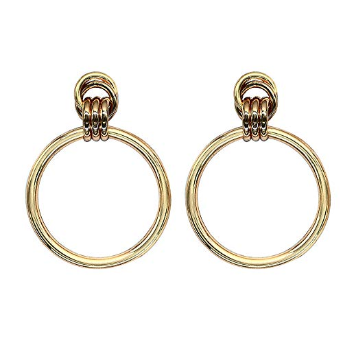Drop Dangle Earrings, Gold Plated Rounded Hoop Earrings | Simple Geometric Drop Dangle Earrings for Women Girls