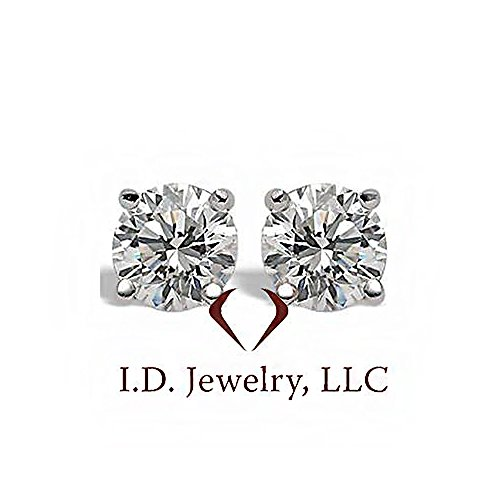(1.95CT I SI1 Martini Round Cut Diamond Stud Earrings 14K White Gold)