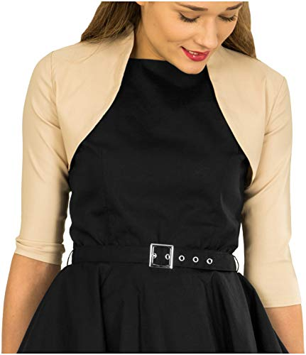 BlackButterfly Tailored 3/4 Sleeve Bolero (Champagne, US 4) (Jacket Dress Satin)