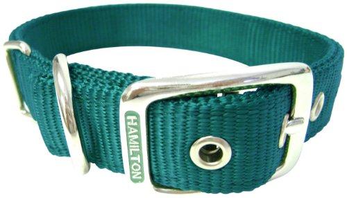 Hamilton Double Thick Nylon Deluxe Dog Collar, 1-Inch by 28-Inch, Dark Green