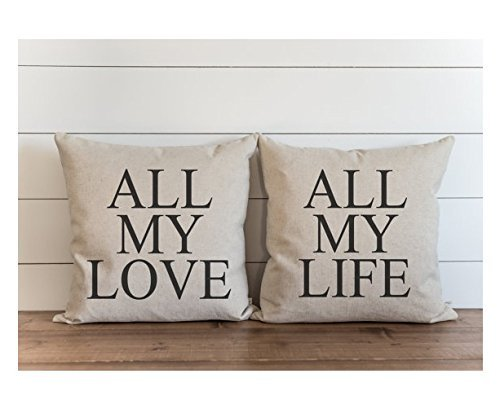 All My Love_All My Life Pillow Cover SET// Wedding // Anniversary // Throw Pillow Cover // Gift // Everyday // 16x16 (Easy Halloween Crafts Third Grade)