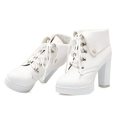 Agodor Womens Platform Lace up High Block Heel Ankle Boots Autumn Winter Closed-Toe Shoes White dYH6PKIIJ