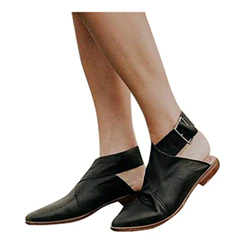 Cenglings Women's Pointed Toe Buckle Cross Strap Ankle Loafers Vintage Buckle Backless Sandals Roman Flat Shoes Black