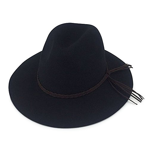 Men's & Women's Wide Brim 100% Wool Felt Fedora Hat (black) (Felt Fedora Hats)