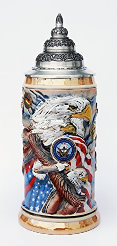 US Navy Beer Stein by King - Eagle of Freedom German Beer Stein 0.75 Liter by GermanSteins