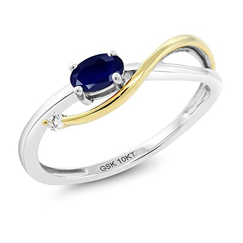 Gem Stone King 10K 2-Tone Gold Blue Sapphire and Diamond Women's Infinity Engagement Ring 0.29 Ctw (Size 7) Blue Sapphire Two Tone Ring