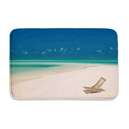 YOLIYANA Seaside Durable Tough Doormats,Deck Chair on a Sandy Tropical Beach Relaxing Holidays Seascape Picture for Indoor Outdoor,23
