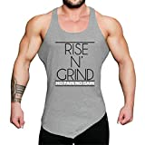 WUAI Mens Workout Fitness Tank Tops Casual Muscle Bodybuilding Gym Sports Shirts Tops(Grey,US Size S = Tag M)