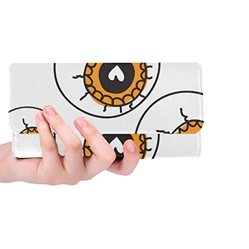 Unique Custom Halloween Allseeing Eyeball Beautiful Women Trifold Wallet Long Purse Credit Card Holder Case Handbag -
