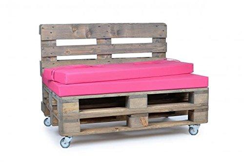 Palettenkissen, Gartenmöbel Auflagen, Sitzbankauflage, Matratzenauflagen auch m. Rückenlehne bzw. Dekokissen in Nylon, pink, wasserabweisend und strapazierfähig