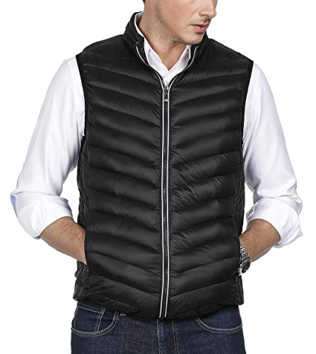 (PAUL JONES Casual Sleeveless Stand Collar Warm Puffer Vest for Men(Black,L))