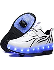 Kids LED USB Charging Roller Skate Shoes with Wheel Shoes Light up Roller Shoes Rechargeable Roller Sneakers for Girls Boys