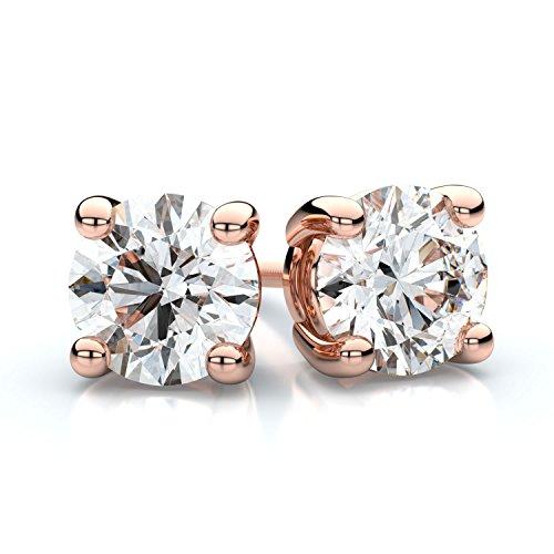 14K Rose Gold Prong Set Round Diamond Stud Earrings, 1 ct. t.w. (I-J / - Clarity Si3 Setting Diamonds