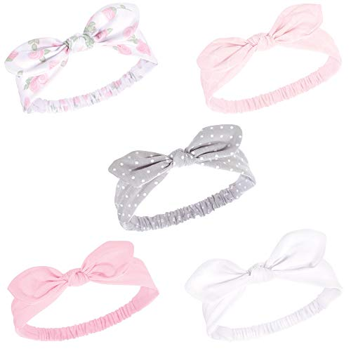 Hudson Baby Baby Girls Knotted Jersey Headband, Pink Rose 5-Pack, 0-24 Months (Headband Rose Baby)