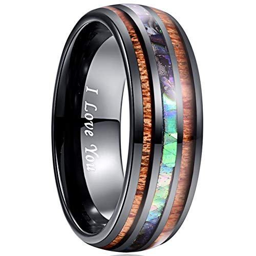 VAKKI 8mm Black Domed Abalone Shell and Koa Wood Inlay Tungsten Carbide Rings for Men Women Size 12